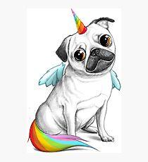 Pug unicorn Photographic Print