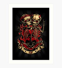 Rockabilly Art, Zombie , Skull Art , Lowbrow , punk Art Print