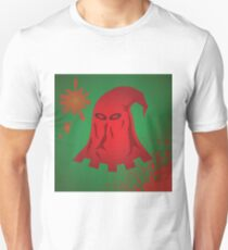 red textile mask of executioner with blood drops on green background Unisex T-Shirt