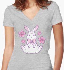Sakura Bunny 02 Women's Fitted V-Neck T-Shirt