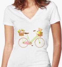 Rabbit On A Bike Bunny Lover Artistic Gift Emoji Women's Fitted V-Neck T-Shirt