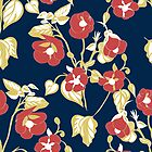 Soft Autumn Russet Blue Floral by CaelaBeeDesigns
