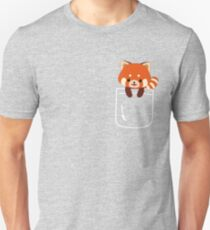 Red Panda In Pocket Funny Cute Emoji Animal T-Shirt