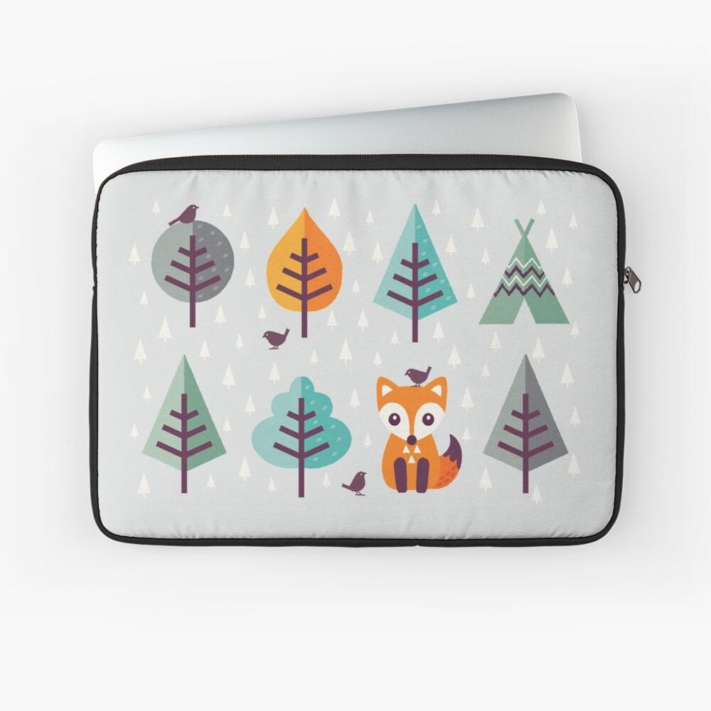 Fuchs im Wald - auf Grau Laptoptasche