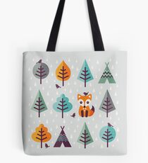 Fox in the Forest - on Gray Tote Bag