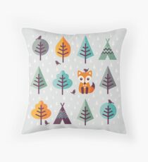 Fox in the Forest - on Gray Throw Pillow