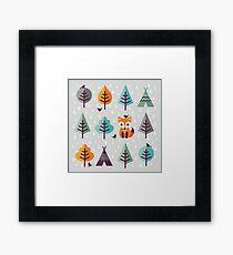 Fox in the Forest - on Gray Framed Print