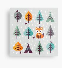 Fox in the Forest - on Gray Metal Print