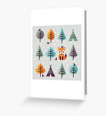 Fox in the Forest - on Gray Greeting Card
