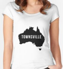 Townsville, Australia State Silhouette Women's Fitted Scoop T-Shirt