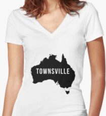 Townsville, Australia State Silhouette Women's Fitted V-Neck T-Shirt