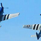 Dual P-51 Mustangs in steep climb by Paul Lenharr II