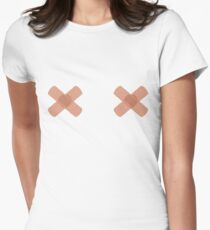 Band-aid// FREE THE NIPPLE  Womens Fitted T-Shirt