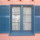Blue Window on Pink by Kathleen Brant