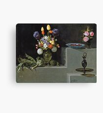 Hamen Y Le?n, Juan Van Der - Still Life With Artichokes, Flowers And Glass Vessels Canvas Print