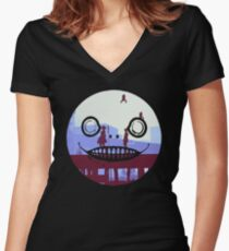 Nier Automata 2B and 9S Emil Face Women's Fitted V-Neck T-Shirt