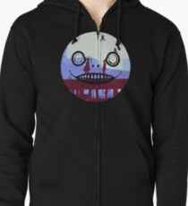 Nier Automata 2B and 9S Emil Face Zipped Hoodie