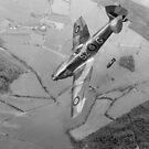 Polish Spitfire XVI dive bombing B&W version by Gary Eason