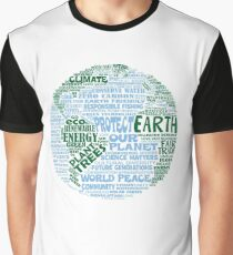 Protect Earth - Blue Green Words for Earth Graphic T-Shirt