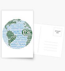 Schütze die Erde - Blaugrüne Worte für die Erde Postkarten