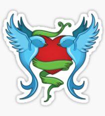 Tattooed Bluebirds With Love by Moose Disco Sticker