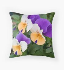 Tricolor Pansies Throw Pillow