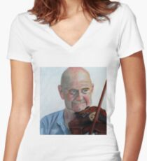 Violin Man Women's Fitted V-Neck T-Shirt