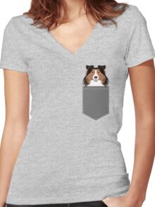 Jordan - Shetland Sheep Dog gifts for sheltie owners and dog people gift ideas perfect dog gifts Women's Fitted V-Neck T-Shirt