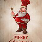 Santa Claus pastry cook greeting card by jordygraph