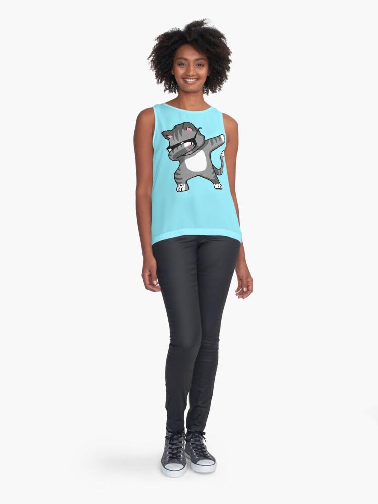 Alternate view of Dabbing Cat Funny Hip Hop T-shirt Sleeveless Top