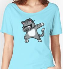 Dabbing Cat Funny Hip Hop T-shirt Women's Relaxed Fit T-Shirt