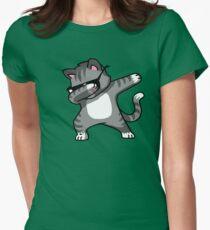 Dabbing Cat Funny Hip Hop T-shirt Women's Fitted T-Shirt