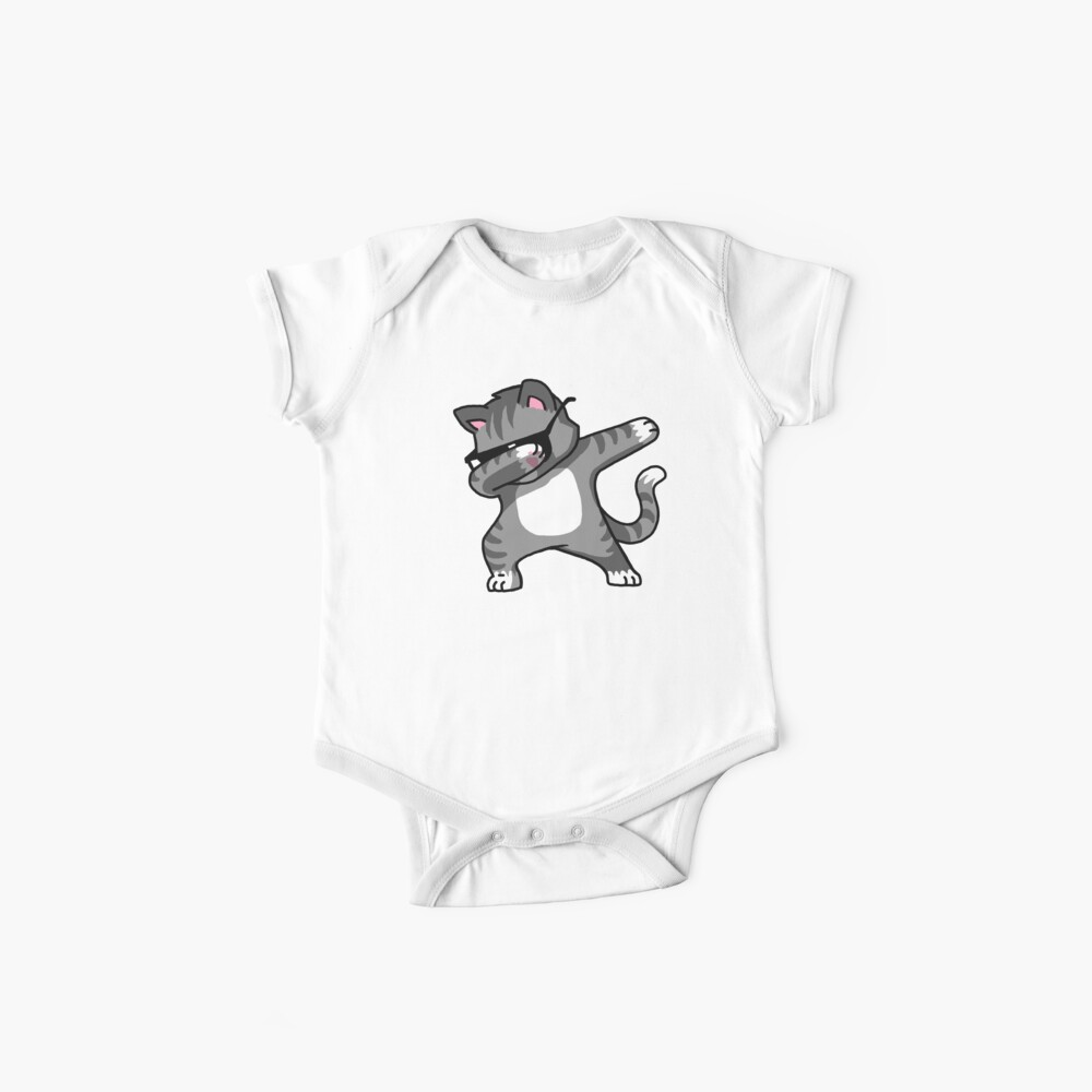 Dabbing Cat Funny Hip Hop T-shirt Baby One-Piece