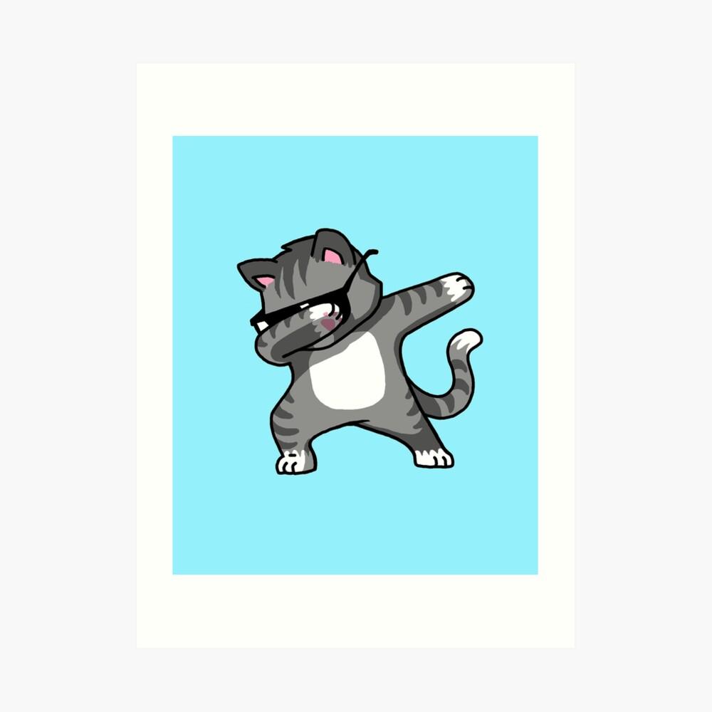 Dabbing Cat Funny Hip Hop T-shirt Art Print