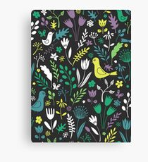Paper-cut meadow - teal, lemon and green on charcoal - pretty floral bird pattern by Cecca Designs Canvas Print