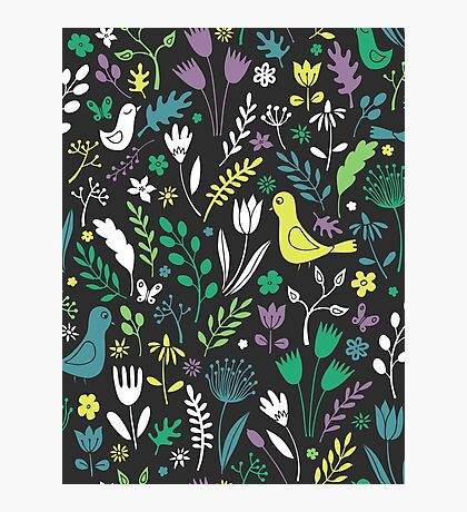 Paper-cut meadow - teal, lemon and green on charcoal - pretty floral bird pattern by Cecca Designs Photographic Print