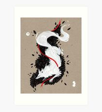 WHITE FOX RIBBONS  Art Print