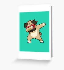 Dabbing Pug funny hip hop tshirt Greeting Card
