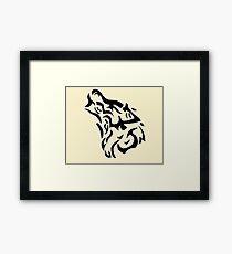 Tribal wolf head on light brown background Framed Print