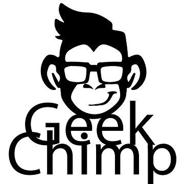 Geek Chimp T-Shirt Black & White Modern by wellcesar
