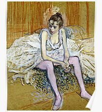 Henri De Toulouse Lautrec - A Seated Dancer With Pink Stockings Poster