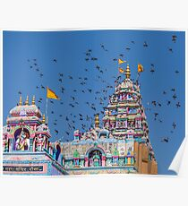 Colorful Hindu Temple India  Poster