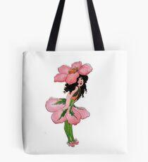 Cute Vintage Flower Child Pink Wild Rose Girl Tote Bag