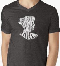 Camiseta para hombre de cuello en v Obstinate, Headstrong Girl Orgullo y prejuicio Jane Austen Quote Design