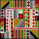 Geometric patterns spring design with ladybugs by walstraasart