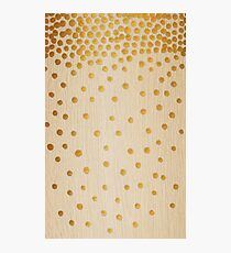 Gold Snowstorm on Wood Photographic Print