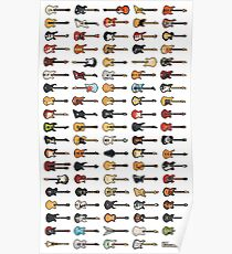 95 Pixel Guitars and Basses and a Keyboard Poster