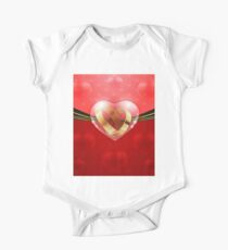 Golden rings in glass heart One Piece - Short Sleeve