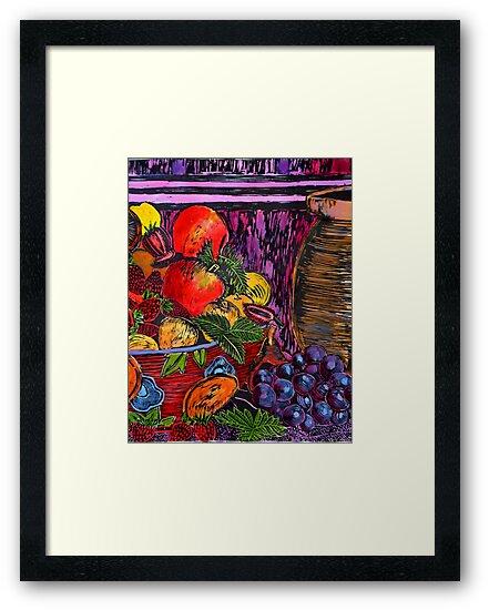 """Wood cut print hand colored by Belinda """"BillyLee"""" NYE (Printmaker)"""