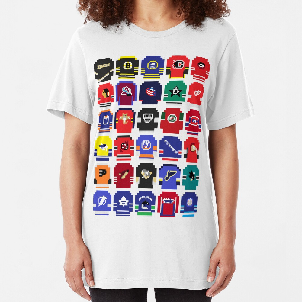 8-Bit Hockey Jerseys Slim Fit T-Shirt